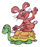 Cartoon hare riding tortoise Royalty Free Stock Photo