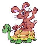 Cartoon hare riding tortoise. Cartoon illustration of waving hare riding tortoise, white background Royalty Free Stock Photo