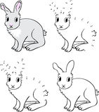 Cartoon hare. Vector illustration. Coloring and dot to dot game Stock Photos