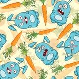 Cartoon hares and carrots Royalty Free Stock Photography
