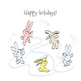 Cartoon hares on holiday. Sketch hand drawing cartoon hares playing snowballs.Christmas postcard greetings holidays Royalty Free Stock Image