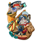 Cartoon hares pirates go on a boarding. Cartoon hares pirates are going to attack the ship to take production. Invitation card for a holiday or birthday. Raster Royalty Free Stock Image