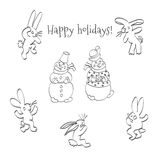 Cartoon hares and snowmen. Sketch hand drawing cartoon hares and snowmen .Postcard greetings holidays Royalty Free Stock Photography