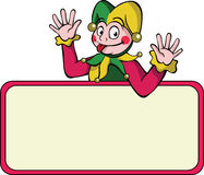 Cartoon harlequin with bulletin board. A cartoon harlequin waving his arms above a bulletin board. Can be used for text placement Stock Photos