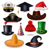 Cartoon hat vector comic cap for celebrating birthday party or Chrisrmas with headwear or head-dress santa hat or pirate Royalty Free Stock Image