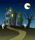 Cartoon Haunted House Scene Royalty Free Stock Images