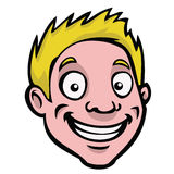 Cartoon head blonde guy. A happy, smiling cartoon guy with blonde hair Stock Photos