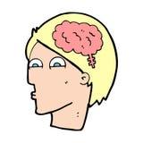 cartoon head with brain symbol Royalty Free Stock Photo
