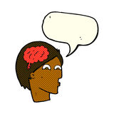 Cartoon head with brain symbol with speech bubble Stock Images