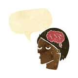 Cartoon head with brain symbol with speech bubble Stock Image