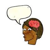 Cartoon head with brain symbol with speech bubble Royalty Free Stock Photography