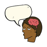 Cartoon head with brain symbol with speech bubble Royalty Free Stock Images