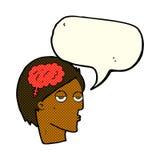 Cartoon head with brain symbol with speech bubble Royalty Free Stock Photo