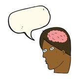 Cartoon head with brain symbol with speech bubble Stock Photos