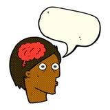 Cartoon head with brain symbol with speech bubble Royalty Free Stock Image