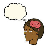 Cartoon head with brain symbol with thought bubble Royalty Free Stock Photography