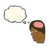 Cartoon head with brain symbol with thought bubble Stock Photos