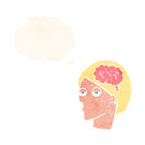Cartoon head with brain symbol with thought bubble Royalty Free Stock Images