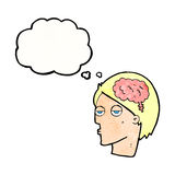 Cartoon head with brain symbol with thought bubble Stock Photography