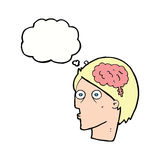 Cartoon head with brain symbol with thought bubble Royalty Free Stock Photo