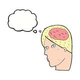 Cartoon head with brain symbol with thought bubble Stock Photo