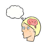 Cartoon head with brain symbol with thought bubble Stock Image
