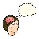 Cartoon head with brain symbol with thought bubble Stock Images