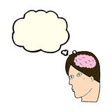 Cartoon head with brain symbol with thought bubble Royalty Free Stock Image