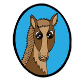 Cartoon head brown horse in blue frame Stock Image