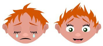 The cartoon head cries and laughs. Vector illustration Royalty Free Stock Photos