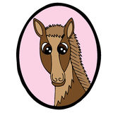 Cartoon head horse in pink frame Royalty Free Stock Images