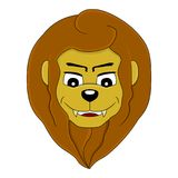 Cartoon head of a smiling lion. Illustration of a head of a cute smiling lion, isolated on a white background Stock Photo