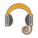 Cartoon headphones music listing audio. Illustration eps 10 Stock Photo