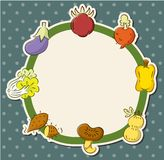 Cartoon health fruit and vegetable card Stock Photos