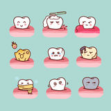 Cartoon healthy and decayed tooth Stock Photo
