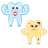 Cartoon healthy and diseased tooth Royalty Free Stock Photo