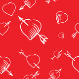 Cartoon heart and arrow seamless pattern Royalty Free Stock Images