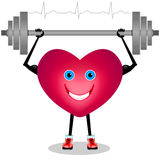 Cartoon heart with a barbell. Stock Photos