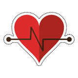 Cartoon heart beat fitness symbol Stock Image