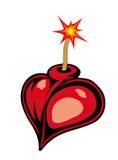 Cartoon heart bomb. Isolated on white background Royalty Free Stock Image