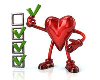 Cartoon heart character and checklist boxes Royalty Free Stock Photography