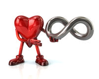 Cartoon heart character and infinity symbol Stock Image