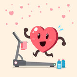 Cartoon heart character running on treadmill. For design Royalty Free Stock Photos