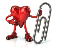 Cartoon heart character and silver paper clip Stock Photography
