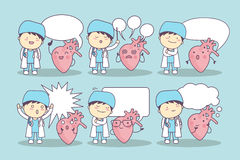 Cartoon heart and doctor Stock Photos