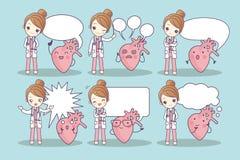 Cartoon heart and doctor Royalty Free Stock Photos