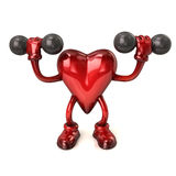 Cartoon heart with dumbbells Royalty Free Stock Photography