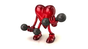 Cartoon heart with dumbbells stock video
