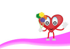 Cartoon heart with flowers Stock Images