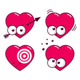 Cartoon heart icons. A set of four cartoon heart icons. A heart and arrow, a pulsating heart, a target in heart, and a crazy heart in love Stock Photography